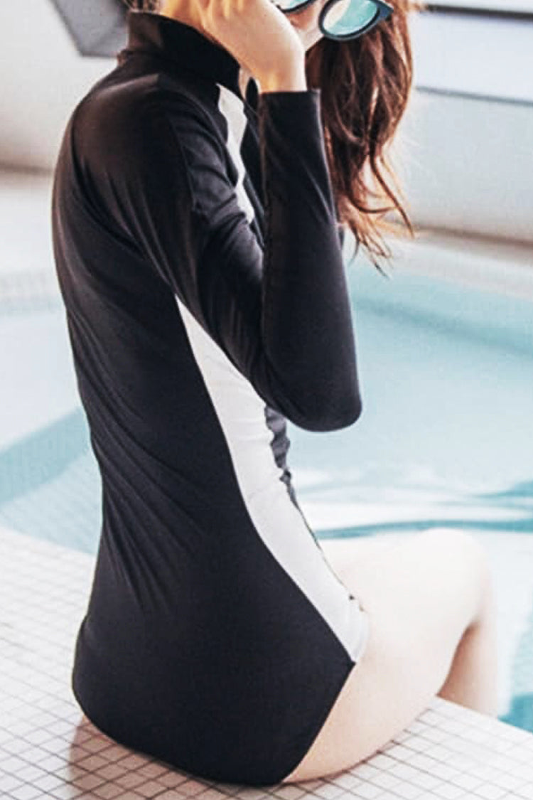 P199 Jade | B&W Long Sleeve Rashguard Suit