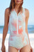 P200 Logan | Peach Palm Zip Sleeveless Rashguard Suit