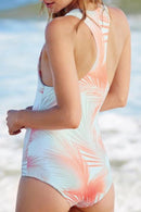 [Imported] P200 Peach Palm Zip Sleeveless Rashguard Suit