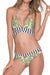 [Imported] P217 Palm Stripe Criss Cross Bikini Set