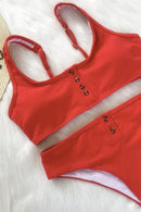 [Imported] P219 Ribbed Button-up Bikini Set (5 colors)