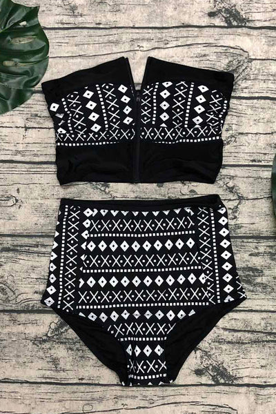 [Imported] P238 Black Tribal Zip High Waist Set