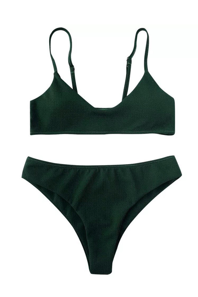 [Imported] P243 Textured Scoop Bikini Set (3 colors)