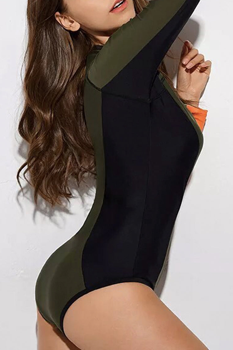 P268 Heidi | Color Block Zip Long Sleeve Rashguard Suit
