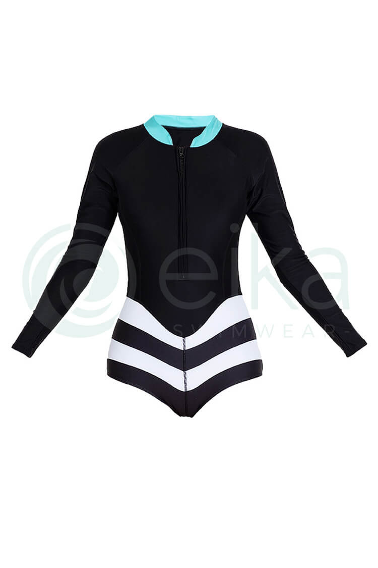 P270 Alondra | Black & White Stripe Zip Long Sleeve Rash Guard