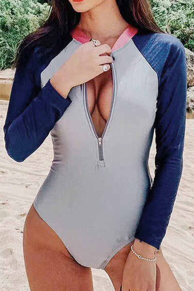 P278 Elle | Pink Gray Blue Color Block Rashguard Suit
