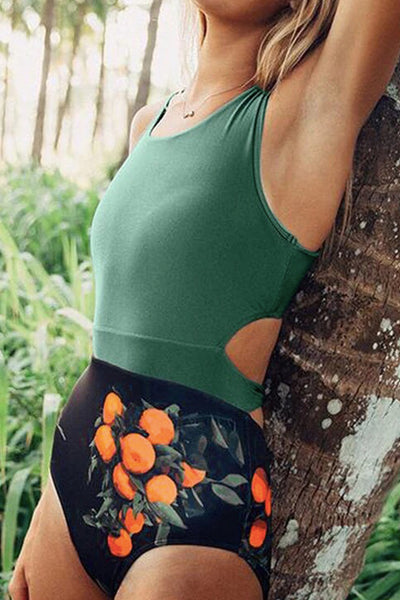 P285 Adrianna | Green Fruit Cutout One Piece