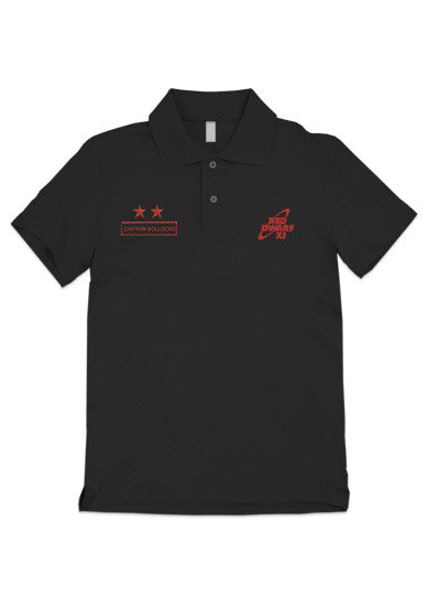 Black Red Dwarf XI Rimmer Captain Bollocks Polo Shirt