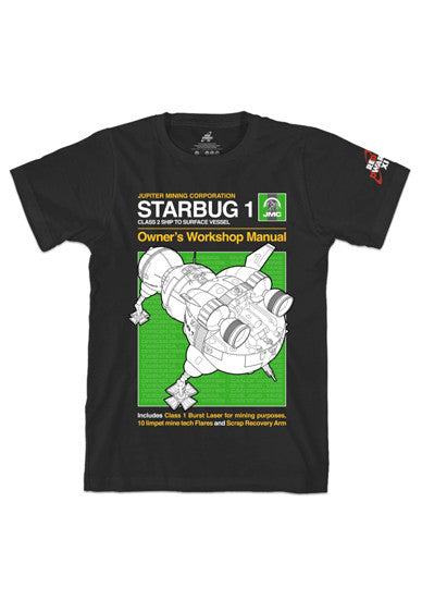 Black Red Dwarf XI 'Starbug 1' Manual Style T-Shirt