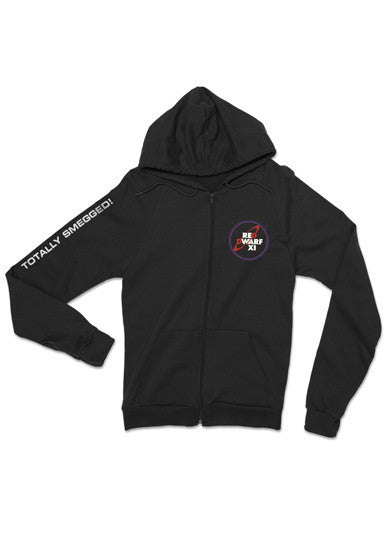 Black Red Dwarf XI Logo Zip Through Hoodie