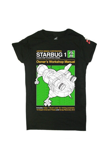 Black Red Dwarf XI 'Starbug 1' Manual Style T-Shirt - Ladies