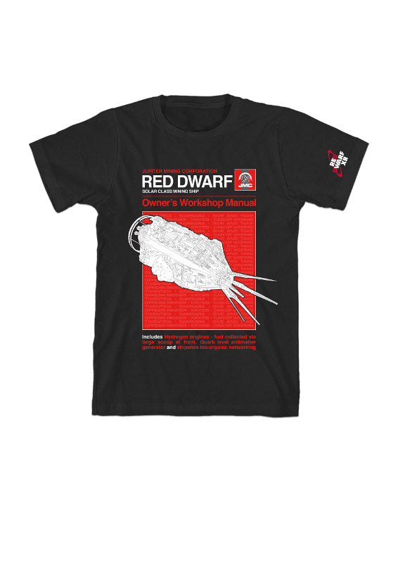 RED DWARF MANUAL STYLE T-SHIRT - BLACK