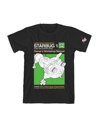 'STARBUG 1' MANUAL STYLE T-SHIRT - BLACK