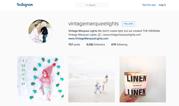 vintage marquee lights instagram