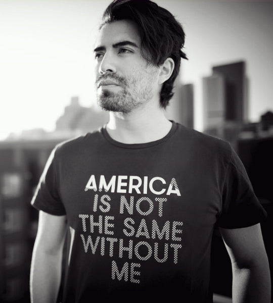 Fashion Blogger wearing statement tshirt America Is Not The Same Without Me