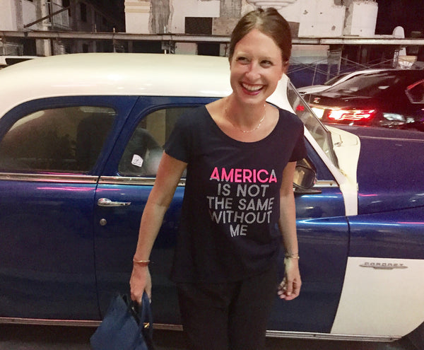 Zelika Garcia wearing America Is Not The Same Without Me aline tshirt women
