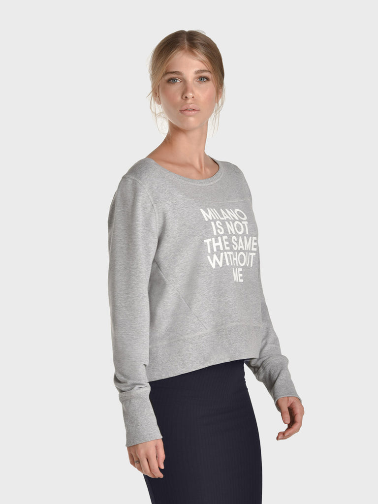 VERY MILANESE SWEATER FOR WOMEN, LIGHT HEATHER GRAY, AMERICA IS NOT THE SAME WITHOUT ME