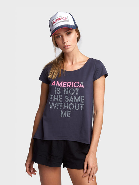 PICTURE PERFECT ALINE TSHIRT FOR WOMEN, SCANDINAVIAN BLUE, AMERICA IS NOT THE SAME WITHOUT ME