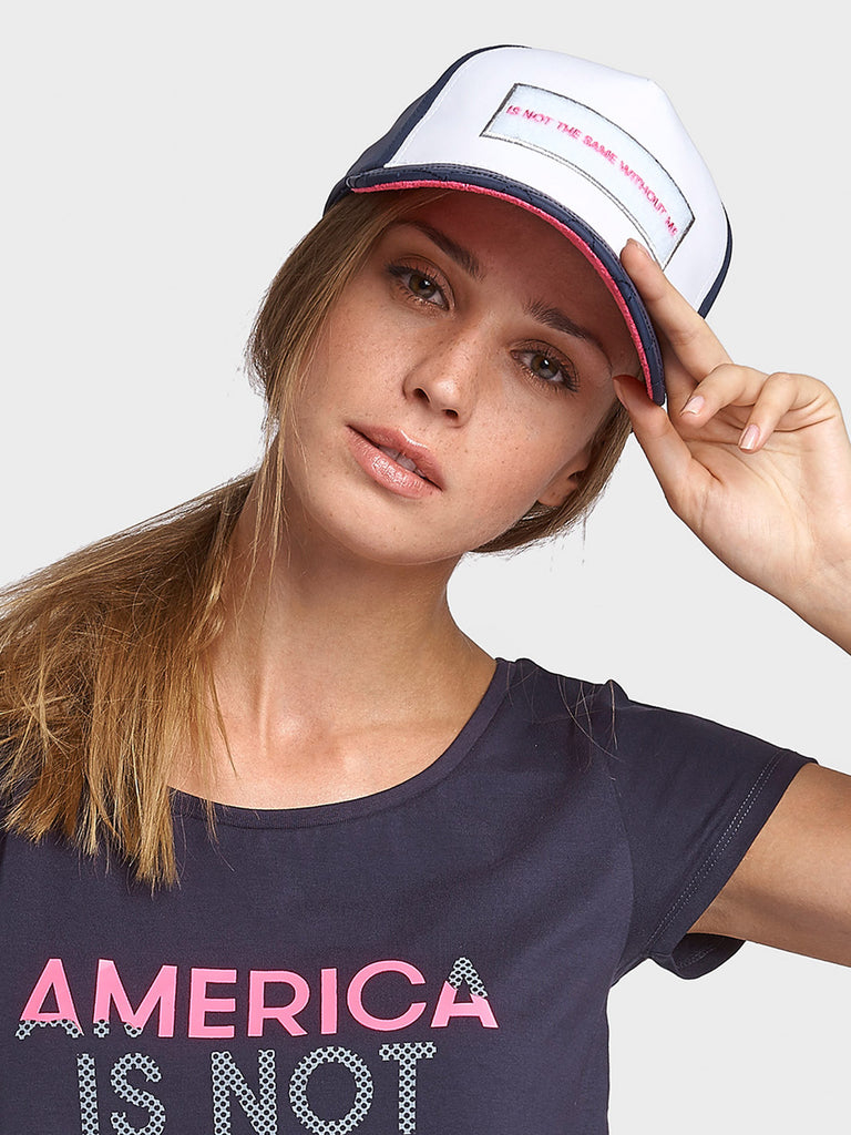 STATEMENT CAP FOR WOMEN, NAVY BLUE HOT PINK, AMERICA IS NOT THE SAME WITHOUT ME