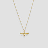 Gold 3D bee charm necklace