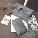 Grey faux leather loop shoulder bag and purse