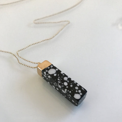 Black patterned faux marble pendant