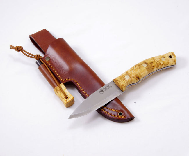 Casström No.10 SFK Curly birch/Scandi/Combo sheath/Fire Steel - Trailblazer Outdoors, Pickering