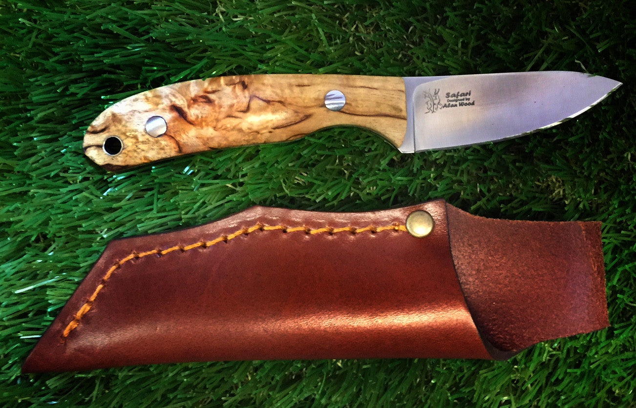 Casstrom Alan Wood Safari Knife Stabilised Curly Birch - Trailblazer Outdoors, Pickering