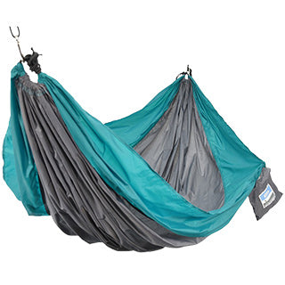 Two Person Travel Hammock - Teal/Gray TO ORDER