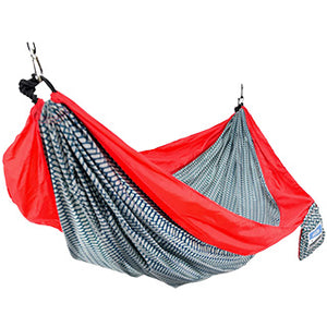 One Person Travel Hammock - Red/Herringbone TO ORDER