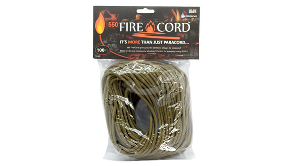 Live Fire Gear 550 FireCord Coyote Brown 100 Feet TO ORDER
