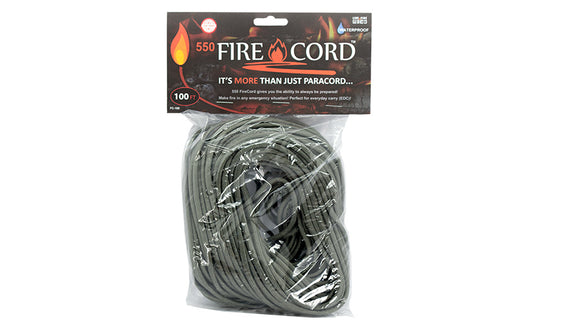 Live Fire Gear 550 FireCord Foliage Green 100 Feet TO ORDER