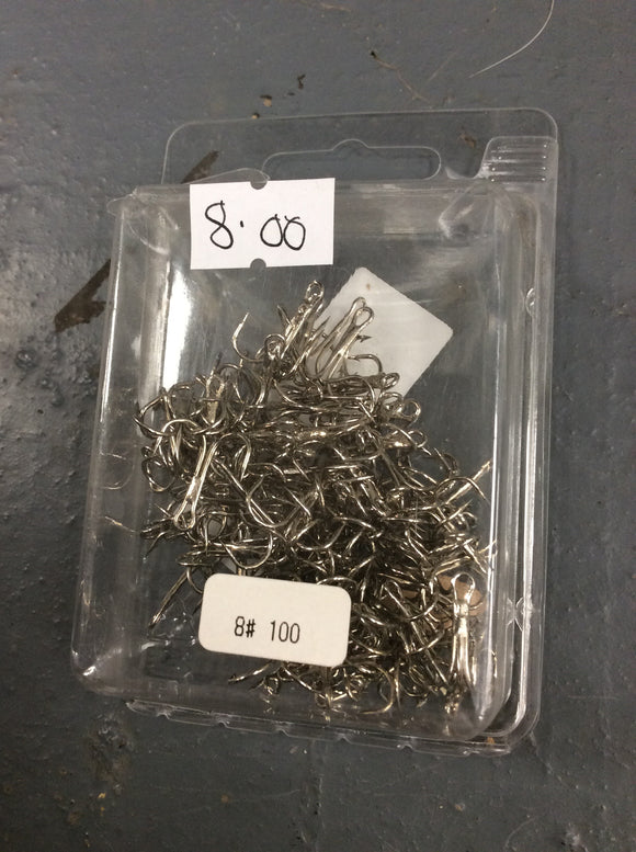 100 #8 barbed treble hooks