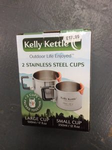 Twin pack Kelly kettle stainless steel cups
