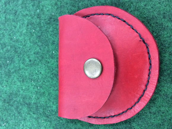 Handmade leather tinder coin pouch red