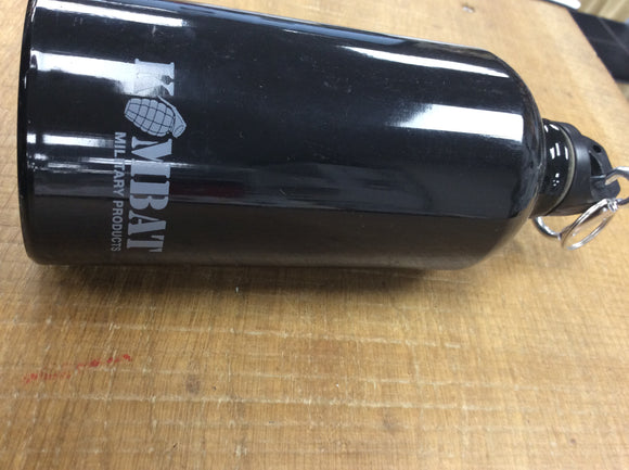Single 500ml aluminium black water bottle kombat UK