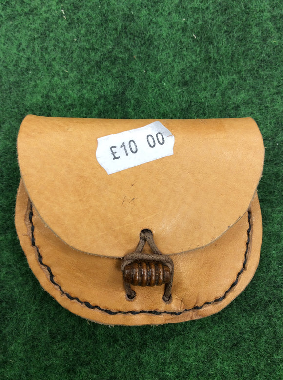 Handmade tan leather tinder coin pouch