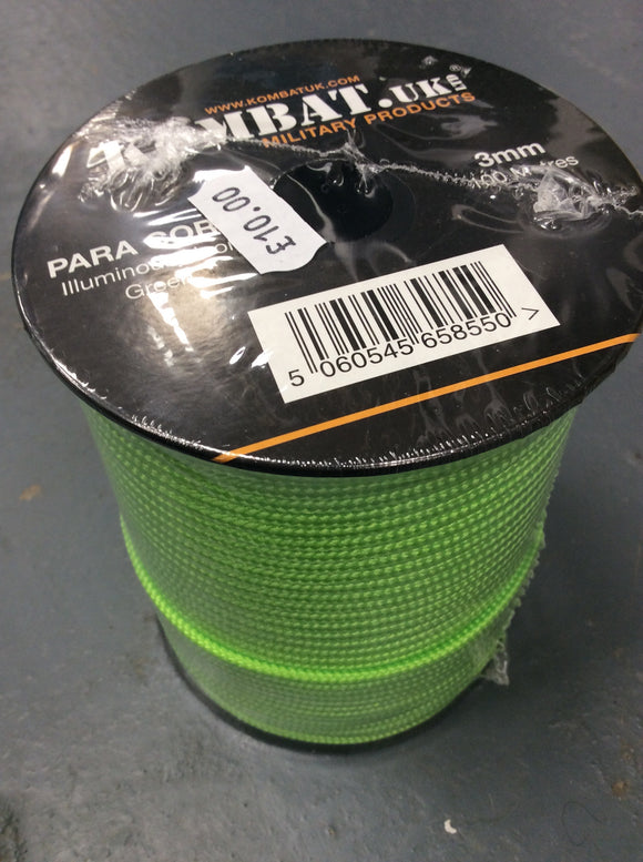 Kombat UK illuminous neon green paracord green 100m