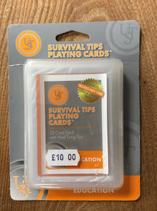Ust survival playing cards with knot tying tips
