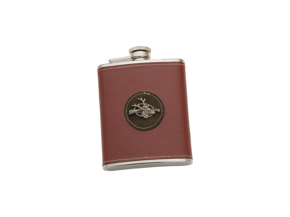 Joker leather stag motif hip flask stainless steel jkr2504