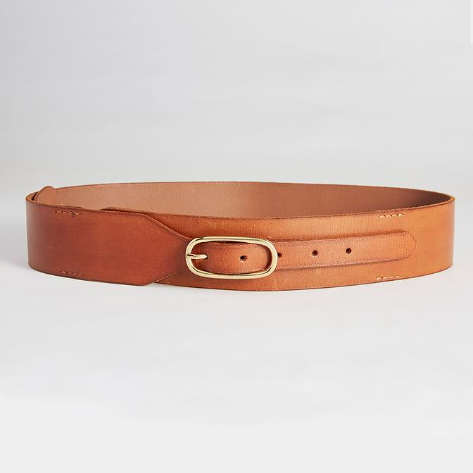 caravan & co keating wide leather belt tan