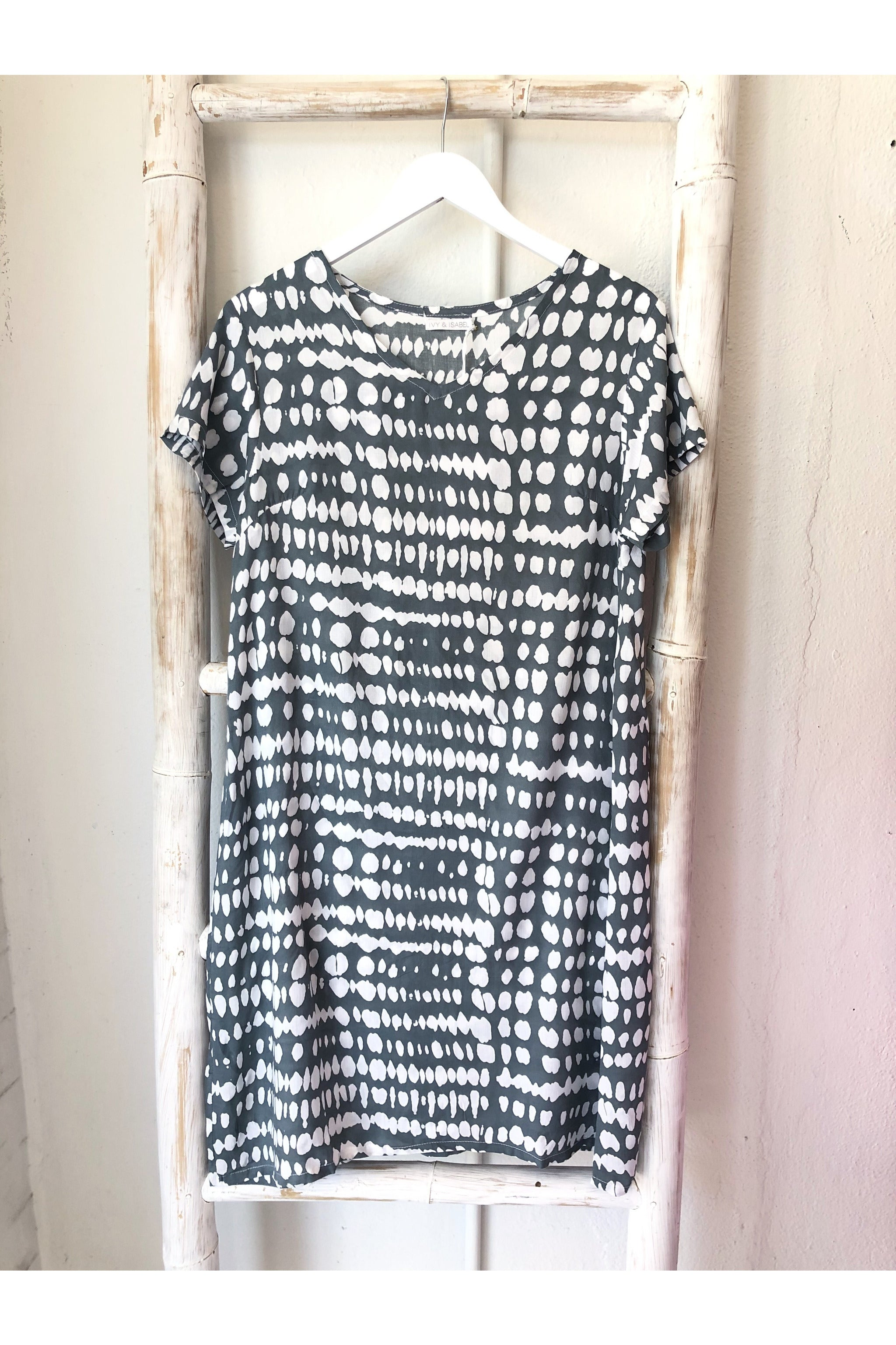 pandora dress light grey & white spot