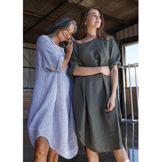 kiitos tulip linen dress army