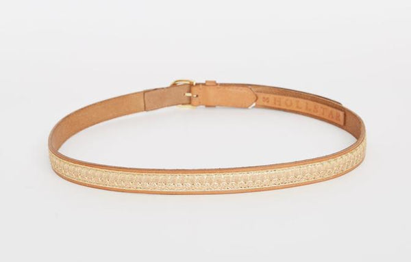 caravan & co bobby leather belt tan with gold detail