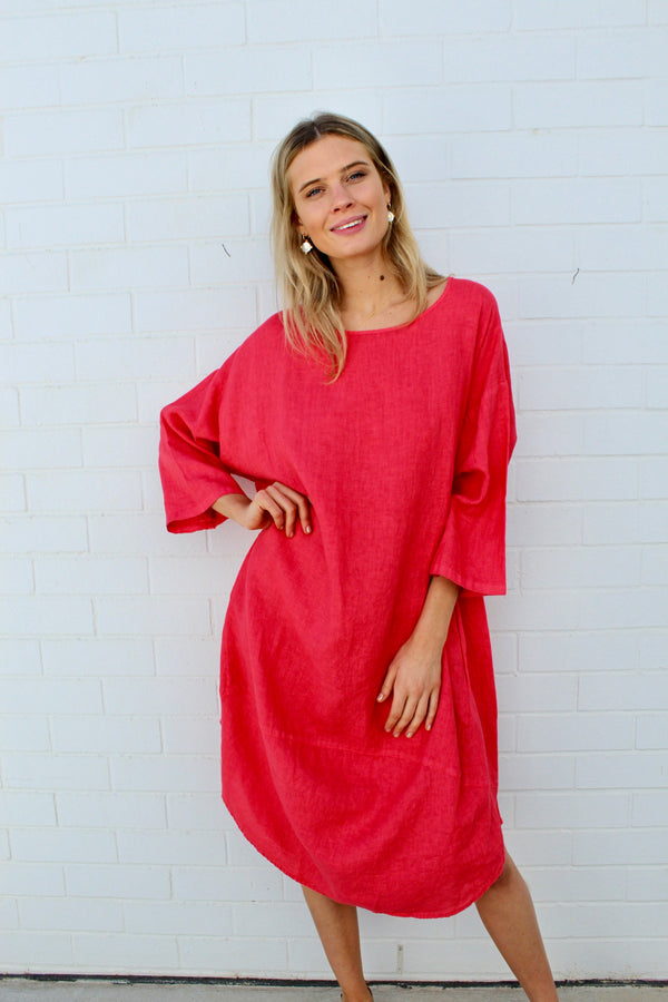 kiitos linen tulip dress coral