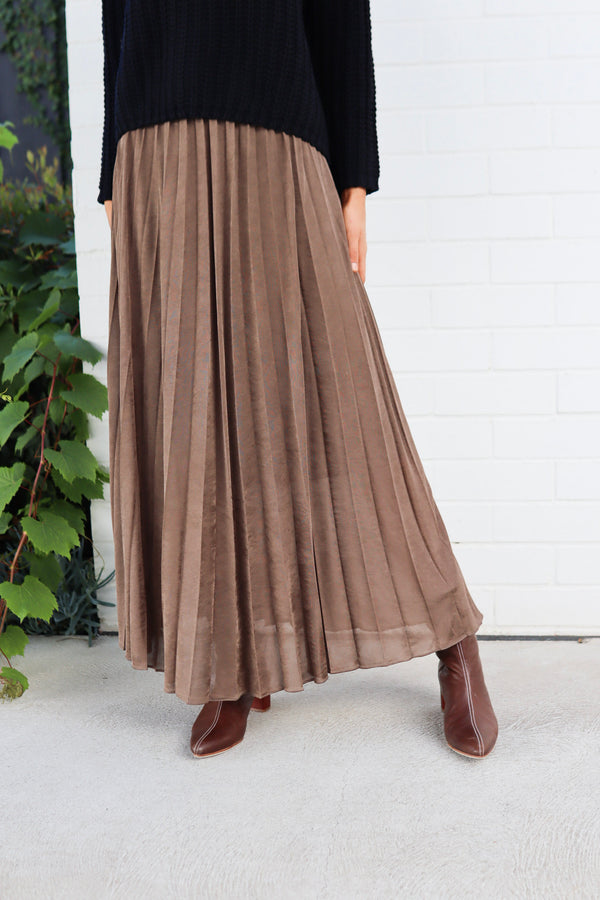 mos mosh chocolate chip plisse jersey skirt