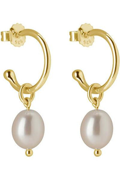 Murkani petite small pearl hoop earrings gold