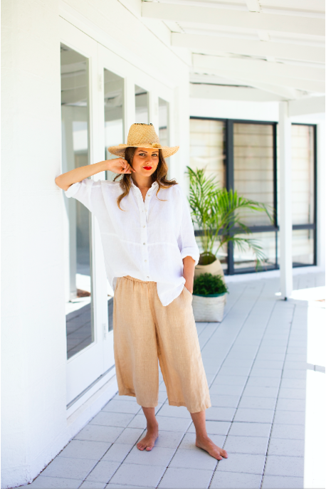 sorrento linen pants tan