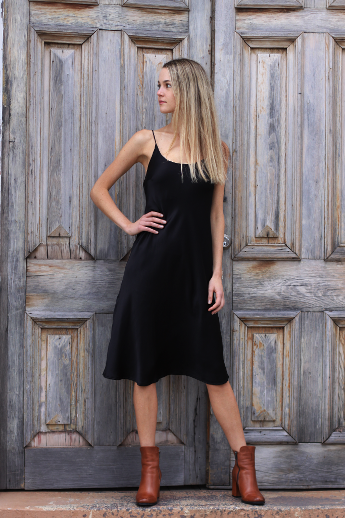 abbi long silk satin dress