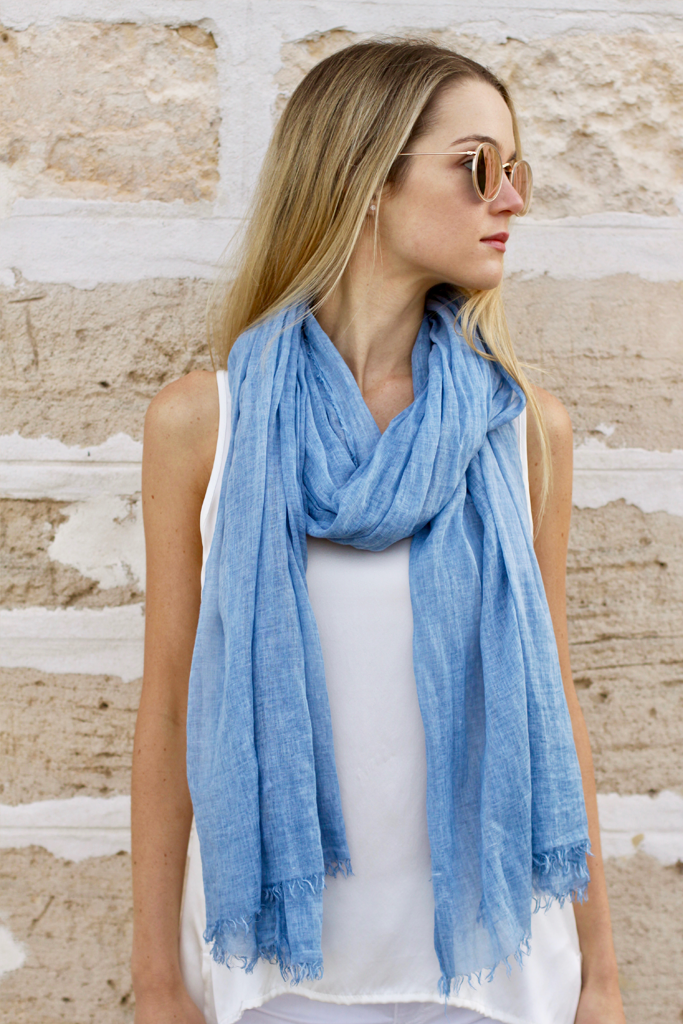 cotton scarf blue